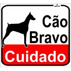 Placa Cão Bravo Alt.25cm...