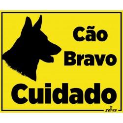 Placa Cuidado Cão Bravo...