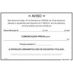 Placa Comunicação Prévia...